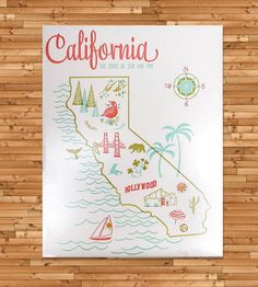 Vintage-Inspired California Map Print | (more states)
