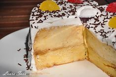 Tort de zahar ars | Retete culinare cu Laura Sava Vanilla Cake, Camembert Cheese, Mai, Mousse, Panna Cotta, Pudding, Ice Cream, Sweets, Cooking