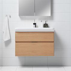 Tvättställsskåp Svedbergs Forma Ljus Ek BxDxH cm: 100x45x50, Lj ek, 2 lå, elut, int htg 6 - Tvättställsskåp & kommod - Badrumsmöbler