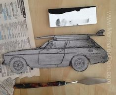 Retro Volvo printing plate with ink