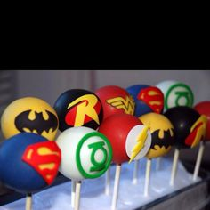 DC cake pops from The Creative Cakery Bake Shoppe, Marvel Baby Shower, Superhero Baby Shower, Superhero Birthday Party, Marvel Birthday Cake, Marvel Cake, Lego Marvel, Cakepops, 17th Birthday, 3rd Birthday Parties