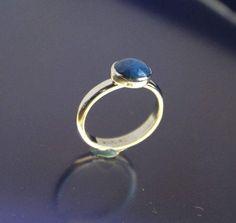 Denim Lapis Ring Sterling Silver Bezel Set by RichieStubStudio