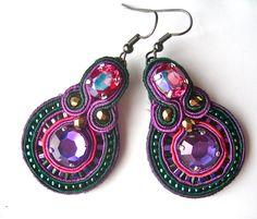 BLACKBERRIES soutache earrings in fuchsia, purple and emerald green with Swarovski crystals. £35.00, via Etsy.
