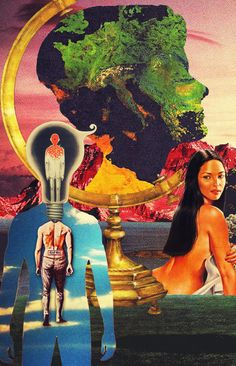 Genesis 1:27 - God Created Mankind In His Own Image-3. Surreal Mixed Media Collage Art By Ayham Jabr.