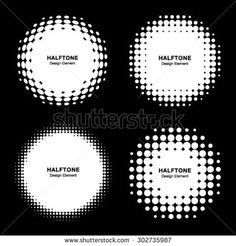 Set of Abstract White Halftone Design Elements, vector illustration, logo