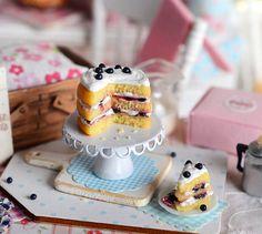 Miniature Blueberry-Filled Lemon Layer Cake♡ ♡ By CuteinMiniature