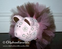 "Custom, hand painted ceramic personalized piggy bank Daniella by Cocalo design with tutu small 5"". $38.00, via Etsy."