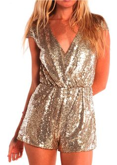 Shop Women's Tobi Gold size XS Dresses at a discounted price at Poshmark. Description: Toni gold sequin Romper with plunging neck line and cap sleeves. New Years Outfit, New Years Eve Outfits, Mode Shorts, Nye Outfits, Vegas Outfits, Woman Outfits, Club Outfits, Sequin Jumpsuit, Overall