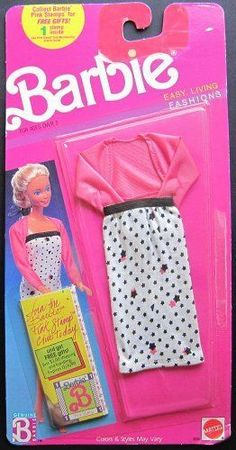 Barbie Easy Living Fashions White Dress with Black Stars and Pink Sweater | eBay