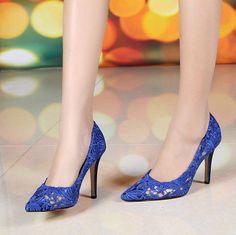 Dance Party Shoes- Lace Shoes,Hollow out Shoes, wedding Shoes, Bridal Shoes , dinner party shoes, dinner shoes, Blue Or Black Sandals Shoe