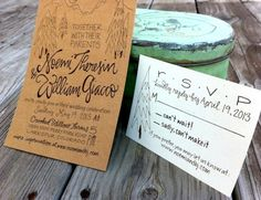 Hand Lettered Kraft Paper Wedding Invitations by Grey Snail Press via Oh So Beautiful Paper (2)