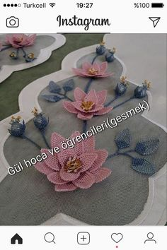 This Pin was discovered by Gül Diy Flowers, Fabric Flowers, Diy And Crafts, Arts And Crafts, Fabric Flower Tutorial, Crochet Art, Needle Lace, Ribbon Embroidery, Burp Cloths