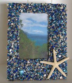 Blue Seashell Coastal Picture Frame