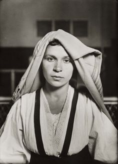 U.S. Albanian Woman with Folded Head Cloth, Ellis Island, 1905 // Lewis Hine