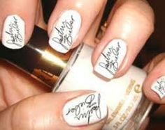 Innovative nail art. sign the nails. It will be more interesting if u get your friends signature on nails.