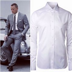 Dress like James Bond mit MYHEMDEN (linkes Bild by Lookastic.de via Pinterest) - z.B. mit dem eleganten Hemd von Stenströms (125€ I Slim Fit)