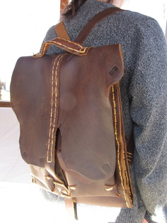 Delicious Chocolate Leather Back Pack  Hand Cut & Hand Sewn