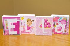 Pinkalicious Themed Custom Name Blocks