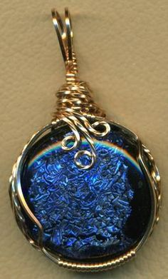 Blue Fused Dichroic Glass Bronze Wire Wrap Pendant