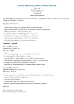 sample regulatory affairs specialist resume - Regulatory Affairs Resume Sample