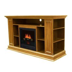 """Walker Edison W58FP18BL 58"""" Black Wood TV Stand with Fireplace"""