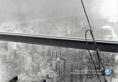 Print advertisement created by DDB, Italy for Volkswagen, within the category: Automotive. Lunch Atop A Skyscraper, Volkswagen, Where Eagles Dare, Build A Better World, Branding, Copywriter, Design Graphique, Creative Advertising, Commercial Vehicle