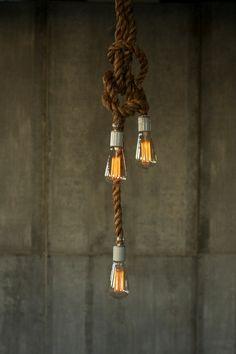 Rope Chandelier Lighting Industrial Light Hanging Light Hanging Lamp - Luke Lamp Co Rustic Rope Design