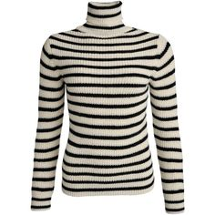 Iró Seely striped roll neck knit sweater ($220) ❤ liked on Polyvore featuring tops, sweaters, cream, high neck sweater, black knit sweater, cream sweater, striped sweater i black long sleeve sweater