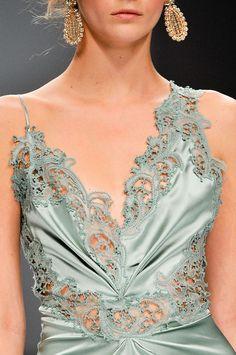 Fashion: New York City Style. Pastel laser-cut satin. Designer: Ermanno Scervino.