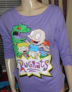 Retro 90's Vintage Nickelodeon Cartoon Rugrats Purple Sheer Shirt M Rock | eBay