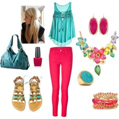 Teal and Hot Pink Casual, created by angierekis on Polyvore