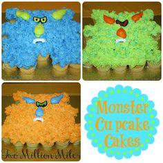 Monster Cupcake Cakes  #monster #cupcakes #cupcakecake