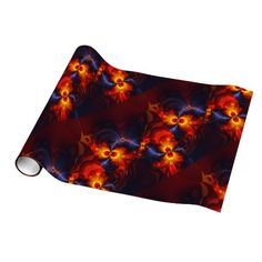 Butterfly Eyes, Abstract Gold Violet Wings Wrapping Paper #Halloween