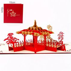 Paper Spiritz Suzhou Gardens 3D Pop up Greeting Card Postcard Matching Envelope Laser Cut Handmade Happy New Year Birthday Post Card Spring Festival Valentines Day GiftPack of 1 -- Be sure to check out this awesome product.