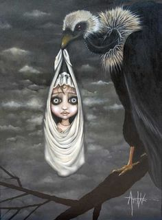 size: Stretched Canvas Print: Special Delivery by Angelina Wrona : Using advanced technology, we print the image directly onto canvas, stretch it onto support bars, and finish it with hand-painted edges and a protective coating. Fine Art Posters, Galerie D'art, Special Delivery, Pop Surrealism, Dark Fantasy Art, Stretched Canvas Prints, Limited Edition Prints, Halloween, Find Art