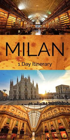 What to see and do in Milan for a day - 1 day itinerary, walking map and practical tips to help you get the most of your short visit to Milano Italy. Find out! Italy Travel Tips, Europe Travel Guide, Travel Guides, Travel Destinations, All Family, Family Travel, Italy Vacation, Italy Trip, Vacation Spots