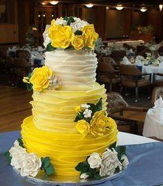 Wedding Cake--yellow ombre and roses cake #pinkweddingcakes