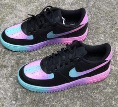 Cute Nike Shoes, Black Nike Shoes, Cute Nikes, Cute Sneakers, Nike Custom Shoes, Neon Nike Shoes, Purple Nike Shoes, Custom Painted Shoes, Jordan Shoes Girls