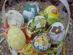 Painted Eggs Austria | Real Hand Painted Decorated Blown Eggs Easter Spring Austria Ornaments
