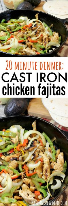 Quick Skillet Chicken Fajitas recipe.  I love easy skillet dinners and my quick and easy cast iron skillet chicken fajitas recipe is a family pleaser. I can have dinner ready in 20 minutes. From young and old the entire family loves this recipe.