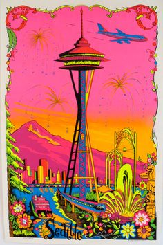 Blacklight Poster Seattle Boeing 747 Space by EmeraldCityPosters Kitsch, Trippy Visuals, Black Light Posters, Retro Illustration, Illustrations, Neon Rainbow, Psychedelic Art, Light Art, Wall Collage