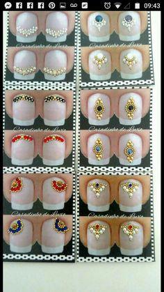 Gem Nails, Bling Nails, Finger, Nail Jewels, Step By Step Painting, Nail Art Diy, Diamond Design, Nail Arts, Pretty Nails