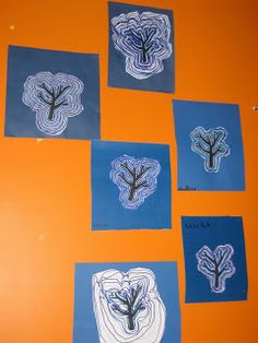 Art enfantin: Encore des arbres d' hiver