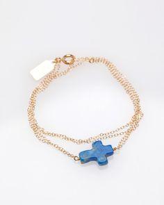 petite cross double wrap bracelet