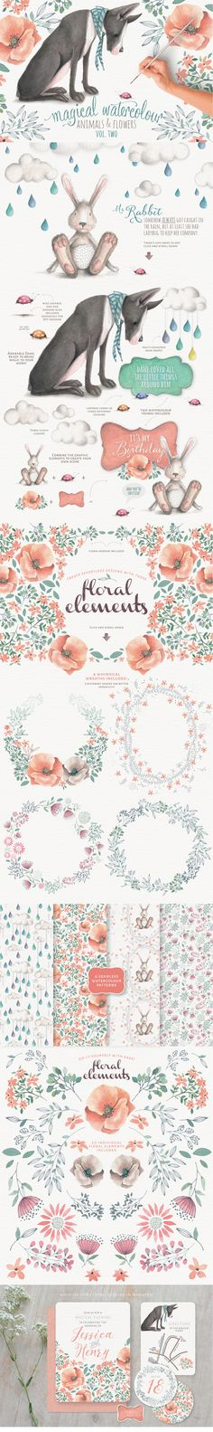 https://www.behance.net/gallery/27160423/Magical-watercolour-animals-flowers-vol-2
