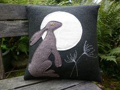 Moon gazing hare cushion by tuftystuff on Etsy