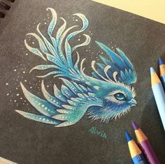 """314 Likes, 7 Comments - Alvia (@alviaalcedo) on Instagram: """"Little snowy bird ❄ I already drew a tiny fire and water birds, and here is a snowy one. ▪ ▪…"""""""