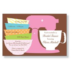 Pea Pod Paper and Gifts Preppy Mixer Invitation - Bridal Shower