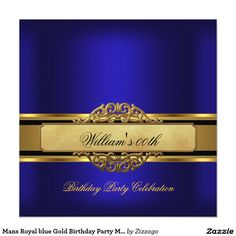 "Mans Royal blue Gold Birthday Party Mens 5.25"" Square Invitation Card"