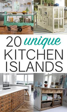 20 Unique Upcycled Kitchen Island Ideas. The yellow one is my favorite!!! #kitchenislands #vintagedesign #kitchendesign #kitchens #kitchenideas
